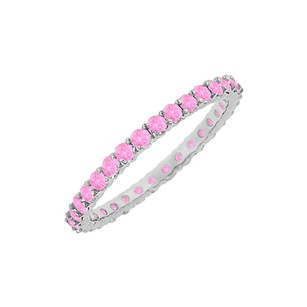 Fine Jewelry Vault 10 CT Pink Sapphire Eternity Bangle in Sterling Silver