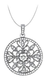 Fine Jewelry Vault 1.00 Carat Total Cubic Zirconia in Sterling Silver Floral Circle Fashion Pendant