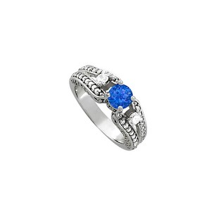 Fine Jewelry Vault Sapphire And Cz Ring In 925 Sterling Silver 1.25 Tgw