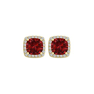 Fine Jewelry Vault 6x6 mm Cushion Cut Ruby and CZ Square Stud Earrings
