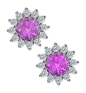 Fine Jewelry Vault Amethyst with CZ Earrings in 14K White Gold