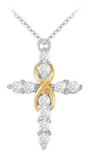 Fine Jewelry Vault April Birthstone Diamonds Cross Pendant in Two Tone Gold 1.00 CT TDW
