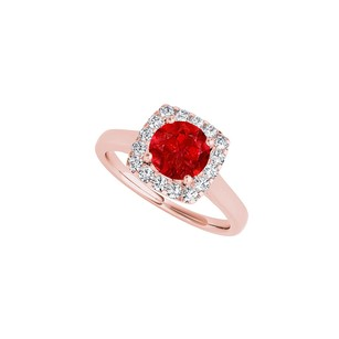 Fine Jewelry Vault Cubic Zirconia Ruby Halo Engagement Ring in Rose Gold