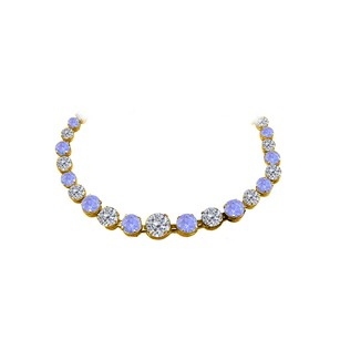 Fine Jewelry Vault CZ Tanzanite Graduated Necklace 18K Yellow Gold Vermeil
