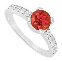 Fine Jewelry Vault Four Prong Set Created Ruby and CZ Engagement Ring in 14kt White Gold 1.00.ct.tgw