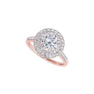 Fine Jewelry Vault Gorgeous Halo Cubic Zirconia Ring in 14K Rose Gold