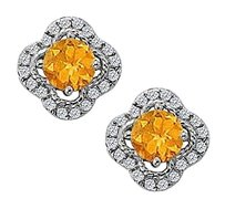 Fine Jewelry Vault November Birthstone Citrine with CZ Earrings in 14K White Gold