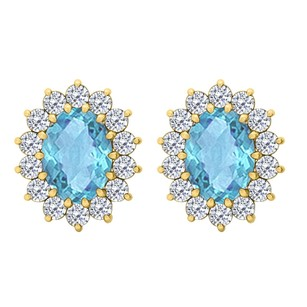 Fine Jewelry Vault Oval Blue Topaz and CZ Halo Stud Earrings in 14K Yellow Gold