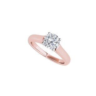 Fine Jewelry Vault Pink Hue Rose Gold Solitaire Ring Shimmers with CZ