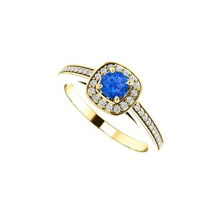 Fine Jewelry Vault Round Sapphire and CZ Square Halo Ring 14K Yellow Gold