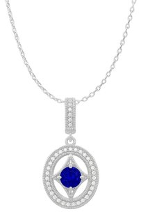 Fine Jewelry Vault Round Sapphire CZ Halo Style Pendant in 14K White Gold