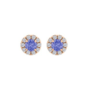 Fine Jewelry Vault Round Tanzanite CZ Halo Stud Earrings 14K Rose Gold
