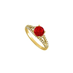 Fine Jewelry Vault Ruby and CZ Split Shank Engagement Ring in Yellow Gold