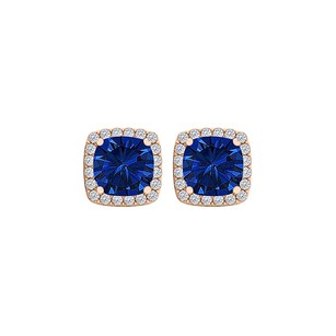 Fine Jewelry Vault Sapphire and CZ Square Halo Stud Earrings 14K Rose Gold