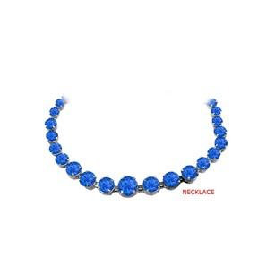 Fine Jewelry Vault Sapphire Graduated Necklace in Sterling Silver