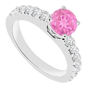 Fine Jewelry Vault September Birthstone Created Pink Sapphire & CZ Engagement Rings in 14kt White Gold 1.00.ct.tgw
