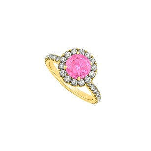 Fine Jewelry Vault September Birthstone Pink Sapphire And Cubic Zirconia Halo Engagement Ring In 14k Yellow Gold