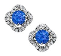 Fine Jewelry Vault September Birthstone Sapphire with CZ Earrings in 14K White Gold