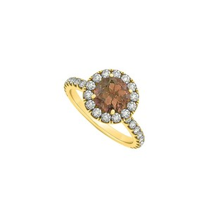 Fine Jewelry Vault Smoky Quartz June Birthstone And Cz April Birthstone Halo Engagement Ring In 14k Yellow Gold