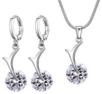 Fine Jewelry Vault Solo Cubic Zirconia Freeform Pendant Earrings Set White