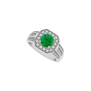 Fine Jewelry Vault Square Halo Three Rows CZ and Round Emerald Fashion Ring