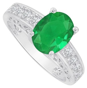 Fine Jewelry Vault White Gold Ring with CZ and Oval Emerald 2.00 CT TGW