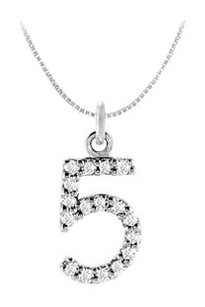 FineJewelryVault Cubic Zirconia Numeric 5 Charm Pendant 925 Sterling Silver 0.08 CT TGW