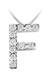 FineJewelryVault CZ Initial Sterling Silver G Pendant