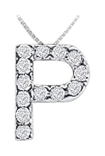 FineJewelryVault CZ Initial Sterling Silver P Pendant