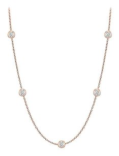 finejewelryvault Diamonds By The Yard Necklace in 14K Rose Gold Bezel Set 0.10 ct.tw