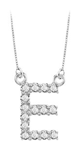 FineJewelryVault Petite Baby Charm Cubic Zirconia E Initial Pendant 925 Sterling Silver 0.25 CT TGW