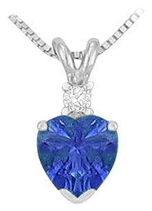 LoveBrightJewelry Synthetic Heart Shaped Sapphire Solitaire Pendant 925 Sterling Silver 1.00 CT TGW