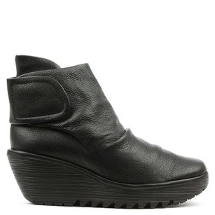FLY London Current Yegi Wedge Textured Leather 40 Black Boots