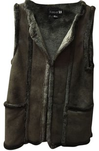 Forever 21 21 Faux Leather Faux Fur Vest