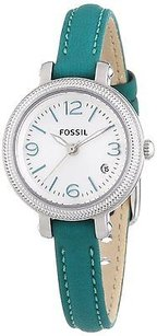 Fossil Fossil Es3333 Heather White Dial Leather Strap Womens Watch