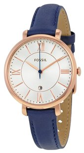 Fossil FOSSIL Jacqueline Silver Dial Navy Leather Quartz Ladies Watch FSES3843