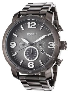 Fossil Fossil Jr1437 Mens Nate Chronograph Gray Dial Stainless Steel Light Scratches