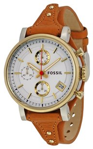 Fossil FOSSIL Original Boyfriend Chronograph White Dial Tan Leather Ladies Watch FSES3615