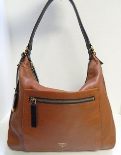 Fossil Leather Top Zip Hobo Bag