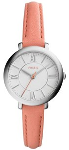 Fossil New! Fossil Women's Jacqueline Pink Leather Strap Watch 26mm es3938