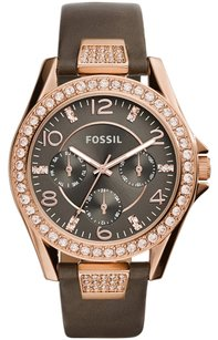 Fossil NEW! Fossil Women's Riley Gray Leather Strap Watch 38mm