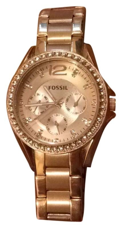 Fossil mini riley rose gold watch