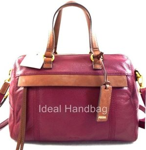 Fossil Leather Molly Wine Satchel in Red