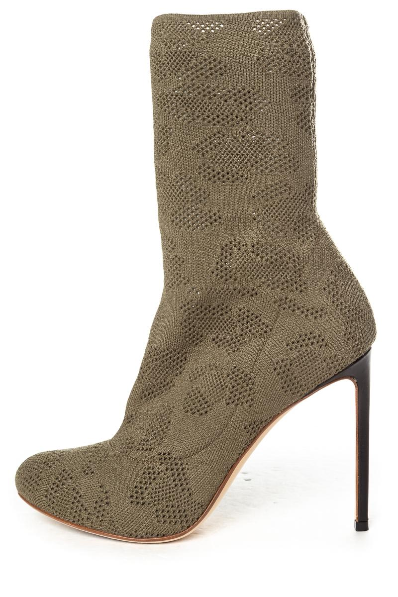 7c7e4afbf195 Francesco Russo Green Green Green Olive Open Knit Boots Booties Size EU 39 ( Approx. US 9) Regular (M