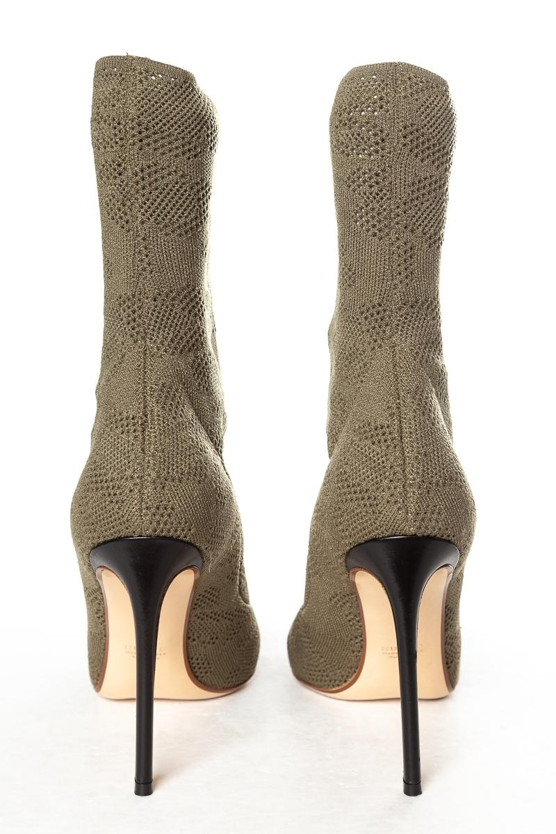 f3403e84428 ... Francesco Russo Green Green Green Olive Open Knit Boots Booties Size EU  39 (Approx ...