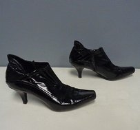 Franco Sarto Leather Square Toe Side Zip Ankle W Heel B3196 Black Boots