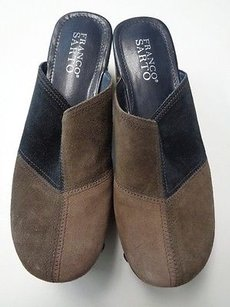 Franco Sarto Thick High Clogs Leather B3249 Gray Brown And Black Flats
