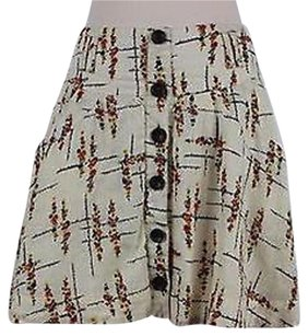 Free People Womens Beige Floral Skirt Multi-Color
