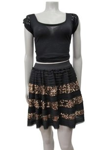 Free People People Sparkle And Stripe Ruffle Xstp Skirt Black Gold