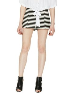 Free People Clean Striped Ponte Shorts Black